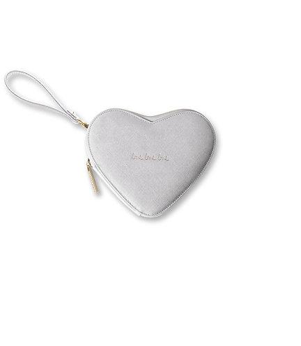 Katie Loxton Silver Heart Clutch - Love Love Love