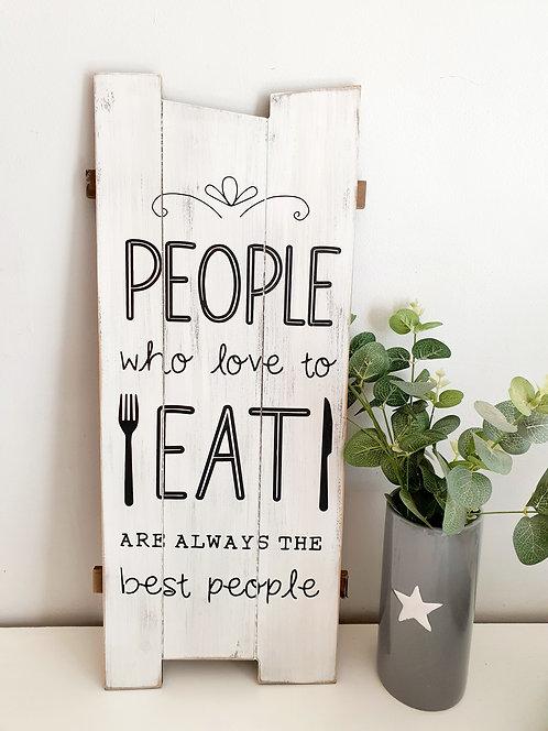 Love To Eat Wooden Slat Plaque