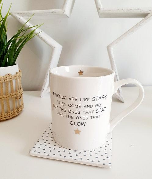 Assorted Ceramic Mugs Friends Are Like Stars../ Good Friends