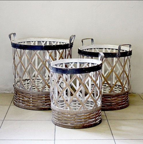 Rustic Metal and Wicker Baskets, Set of 3