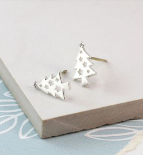 Silver Plated Christmas Tree Stud Earrings
