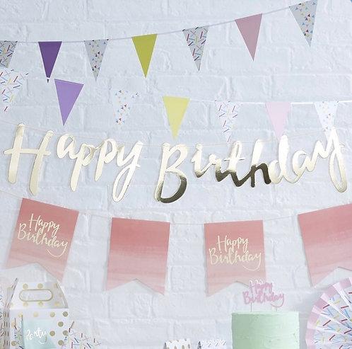 Ginger Ray Gold Happy Birthday Bunting