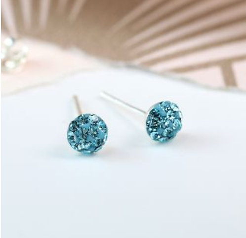 Sterling silver aqua shamballa earrings