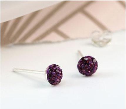 Sterling silver purple shamballa earrings