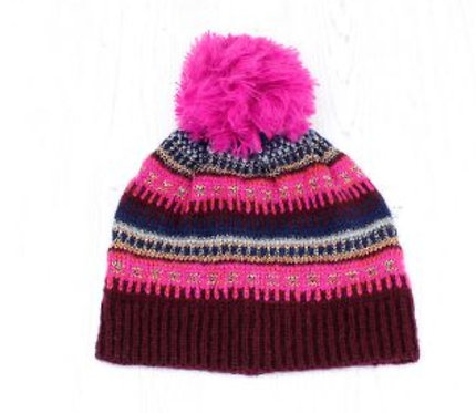 Pink Mix Fair Isle Bobble Hat