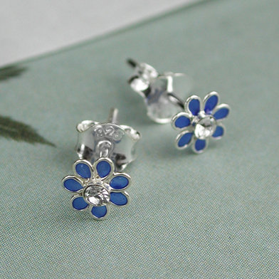Sterling Silver Blue Tiny Enamel Flower Stud