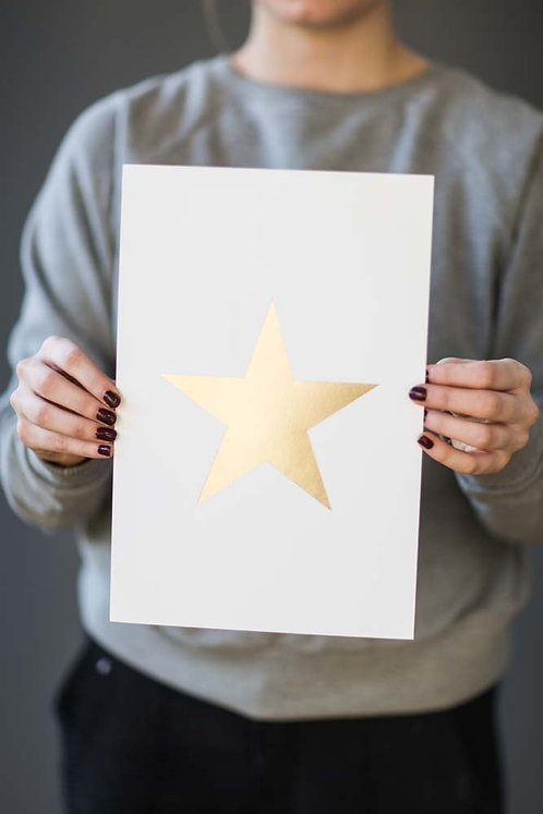 White and gold Foil Star print by Tutti & Co