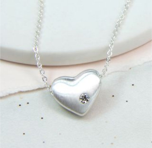 Silver Plated Heart Necklace With Crystal
