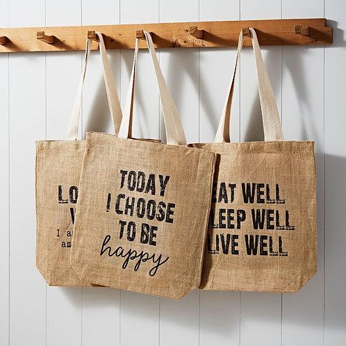 'Eat Well, Sleep Well, Live Well' 100% Jute Shopper Bag