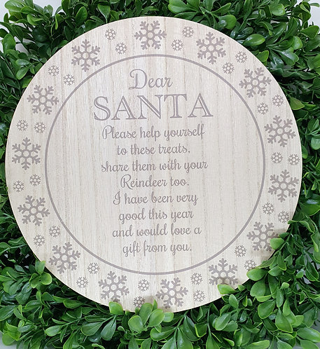 Santa Wooden Treat Plate