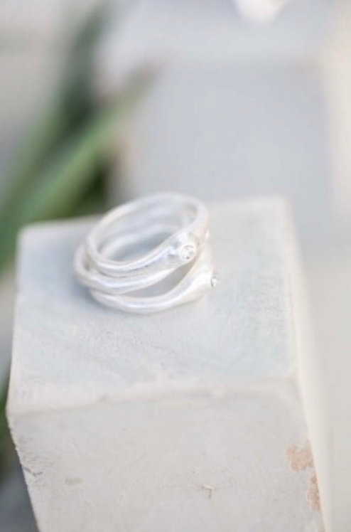 Silver set of 3 Rings with Crystal