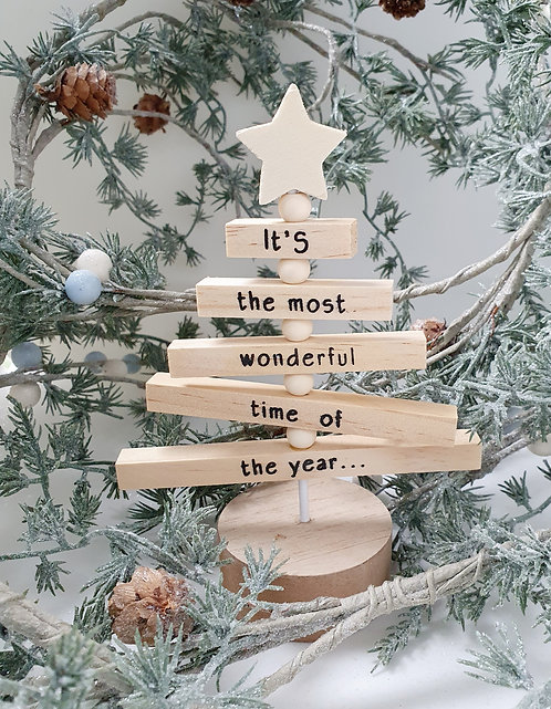 Wooden Tree Decoration - It's the most wonderful time of the year