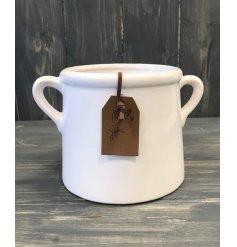 Small White Ceramic Planter