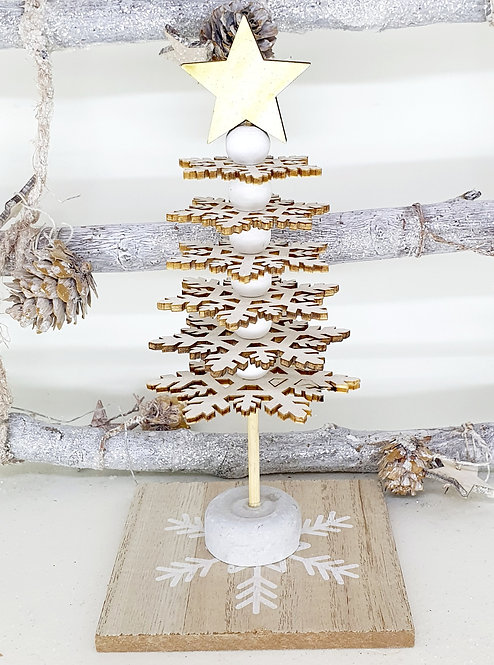 Wood Snowflake Tree with Sparkly Star