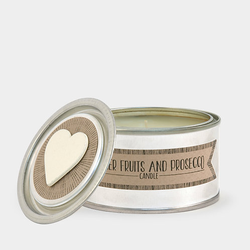 East of India Tin Candle Summer Fruits and Prosecco