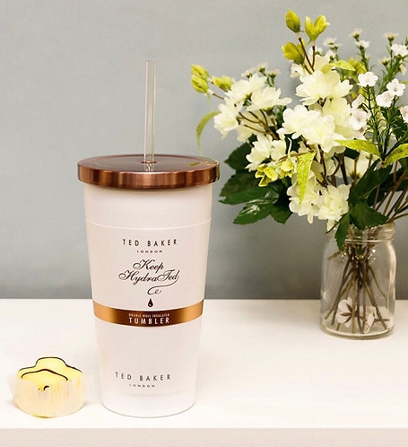 Ted Baker White Stainless Steel Insulated Tubler with Straw