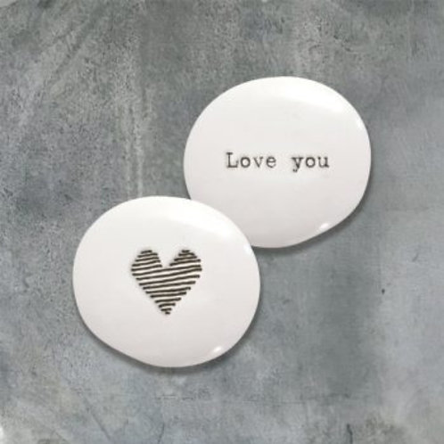 Porcelain Pebble Heart Love You