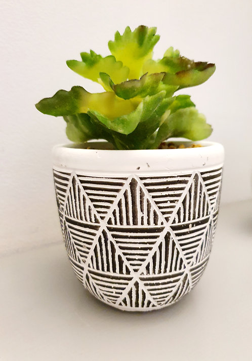 Artificial Succulent in Geometric Black and White Pot