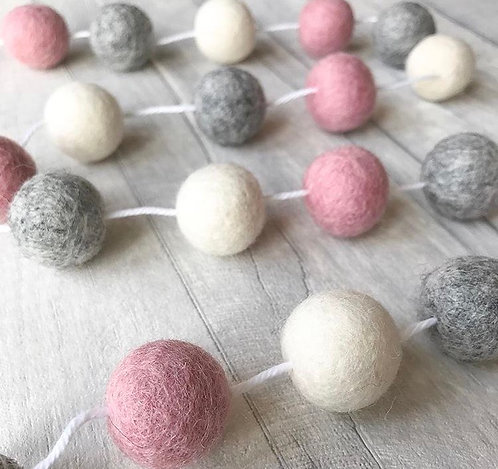Handmade Felt Ball Pom Garland Dusty Pink, Natural Grey and White