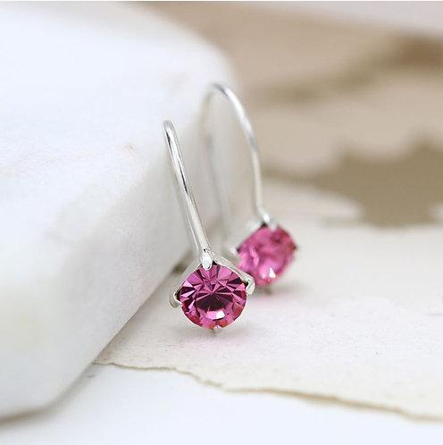 Sterling silver pink crystal little drop earrings