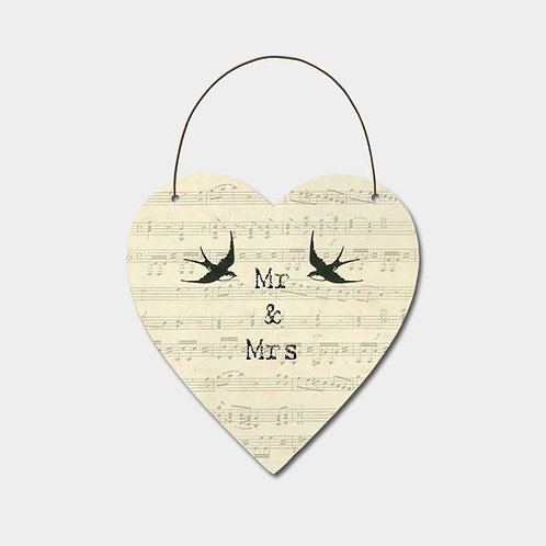 East of India Large news print heart-Mr & Mrs