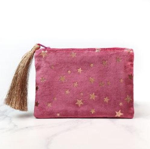 Pink Velvet Star Print Purse