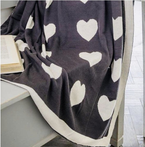 Two Way Cream and Charcoal Heart Throw