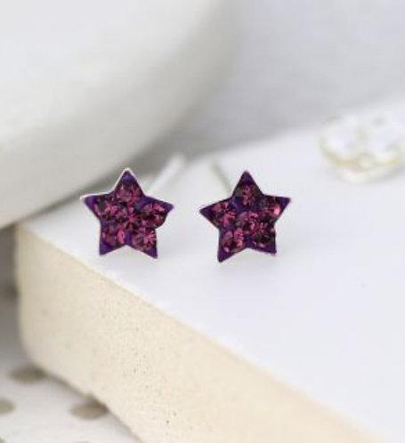 Sterling silver purple crystal star earrings