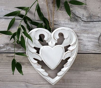 Winged Wood Hanging Heart