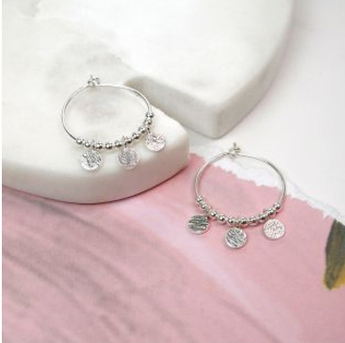Sterling Silver Disc And Bead Hoop Earrings