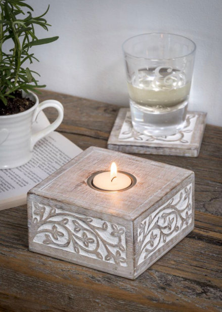 Antique White Leaf Tea light holder