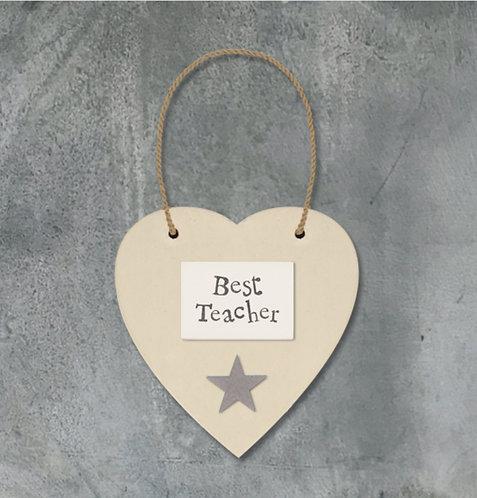 Cream Heart and Star Best Teacher