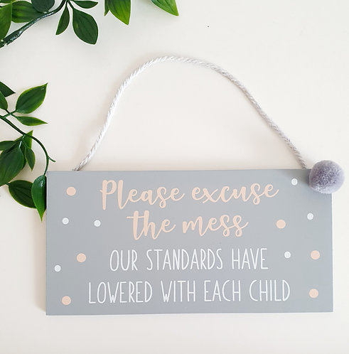 Wooden Wall Sign with Grey Pompom Detail