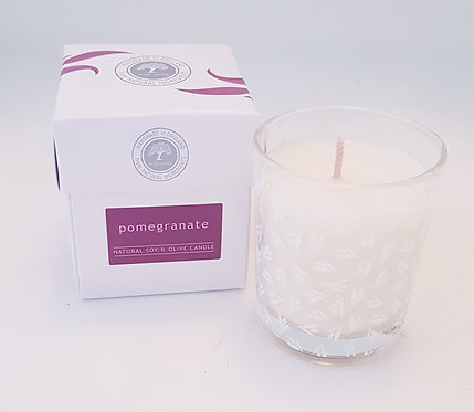 Wild Olive Small Glass Candle-Pomegranate