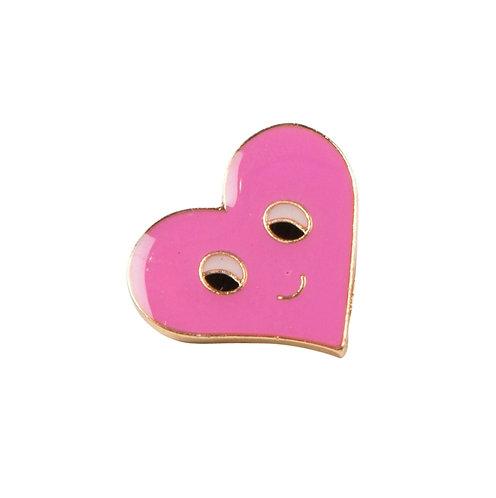 Sass & Belle Pink Flirty Face Heart Pin