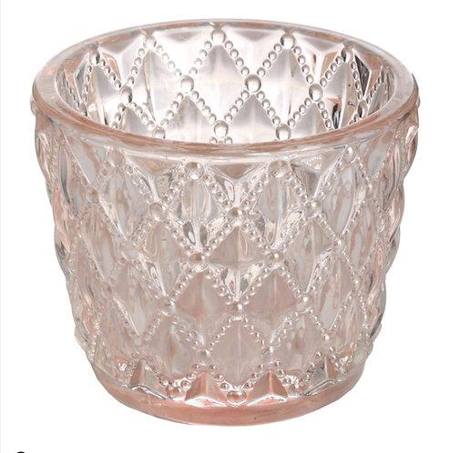 Small Diamond Design Pink Tealight Holder