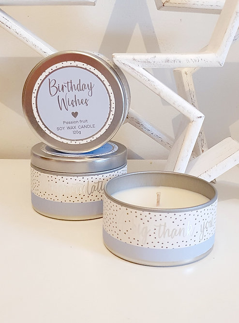 Soy Wax Tin Candles- Birthday Wishes/Congratulations/ Thank You