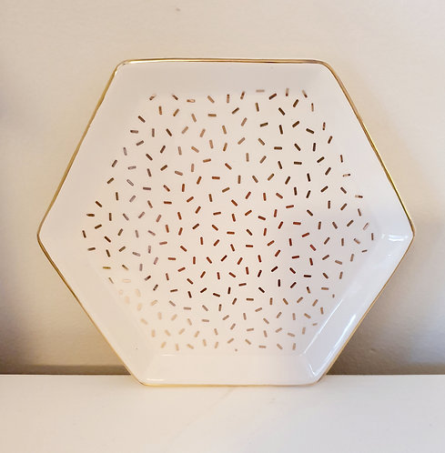 Cute Hexagon Trinket Dish White and Gold