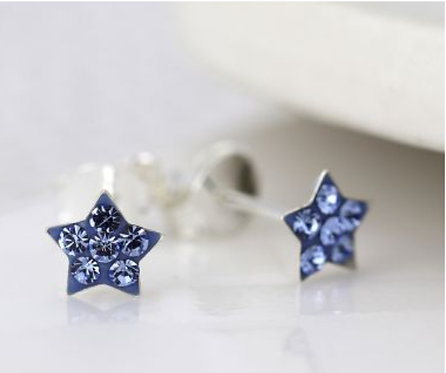 Sterling silver blue crystal star earrings