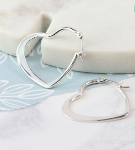 Silver Plated Heart Hoop Earrings