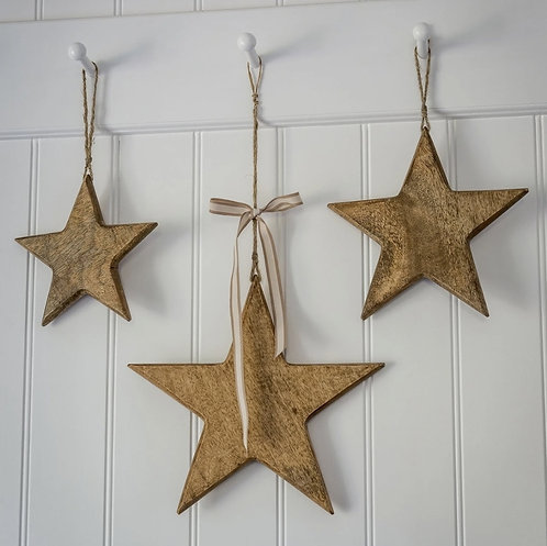 Set of Three Natural Wooden Hanging Stars