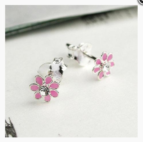 Sterling Silver Pink Tiny Flower Enamel Stud
