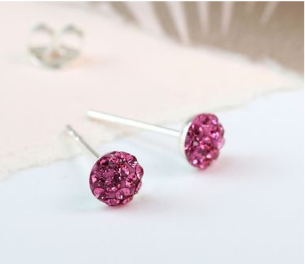 Sterling silver pink shamballa earrings