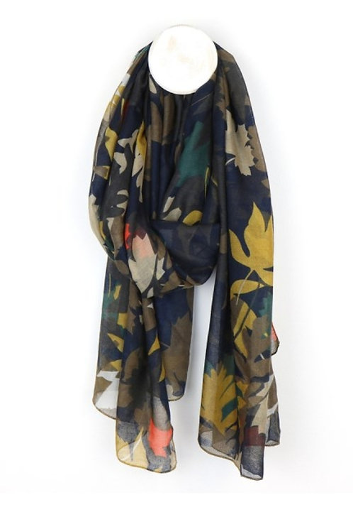 Mustard and Teal Mix Leaf Scarf