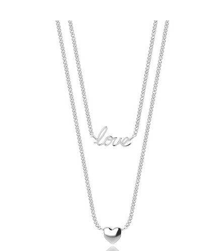 Joma Jewellery Double Strand Necklace Love & Heart