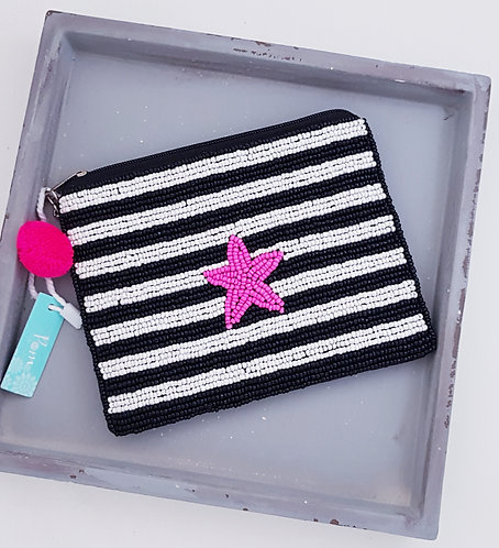 Beaded Stripey Purse With Pink Heart