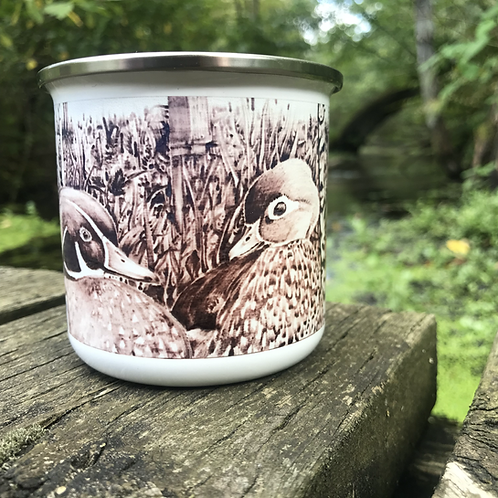 Wood Burned Wood Duck Camp Mug