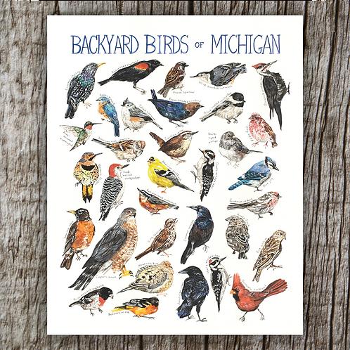 Backyard Birds of Michigan Print by Brush & Bark