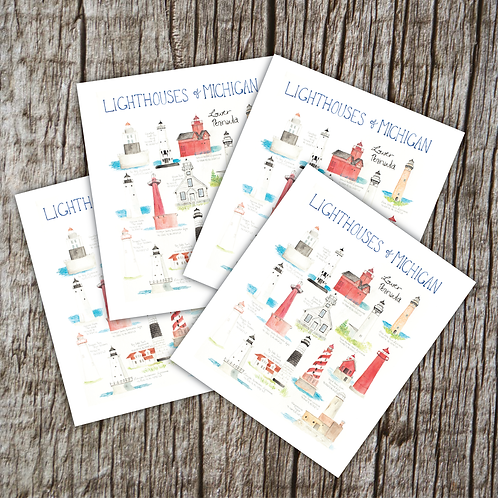 Michigan Lighthouse Greeting Cards by Brush & Bark