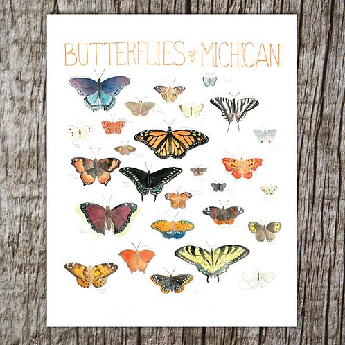 Butterflies of Michigan Print by Brush & Bark